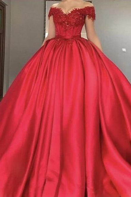 Red Off The Shoulder Ball Gown Prom Gown ,Cap Sleeves Wedding Dress With Beaded Lace Appliques
