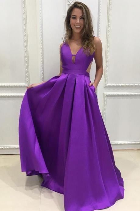 Dahlia Purple Plunging V Neck A Line Prom Dress,Open Back Formal Gown With Cut Out Waist