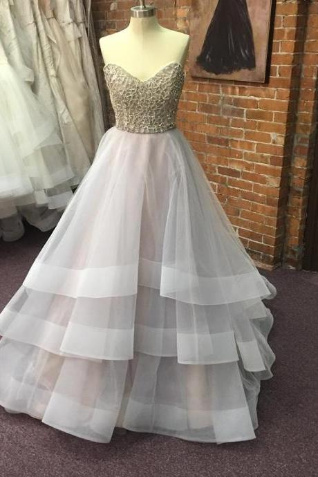 Beaded Sweetheart Princess Ball Gown Prom Dress, Formal Gown With Layered Tulle Skirt