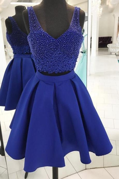 Royal Blue V Neck Two Piece Homecoming Dress,Short Party Dress With Beaded Crop Top