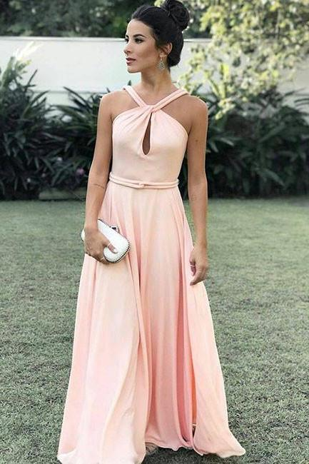 2018 Fashion Pink Halter Prom Dress,Floor Length Formal Gown With Cut Out Bodice