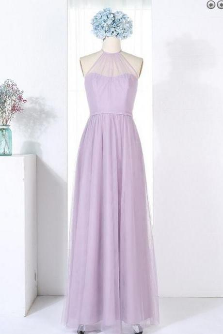 Lavender Tulle Halter Floor Length Bridesmaid Dress, Sleeveless Party Dress