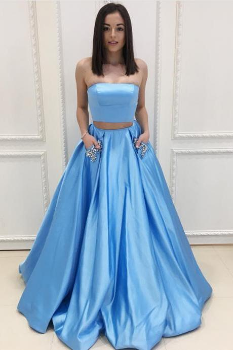 Glamour Light Blue Strapless Two Piece A Line Prom Dress, Formal Evening Gown With Two Pockets