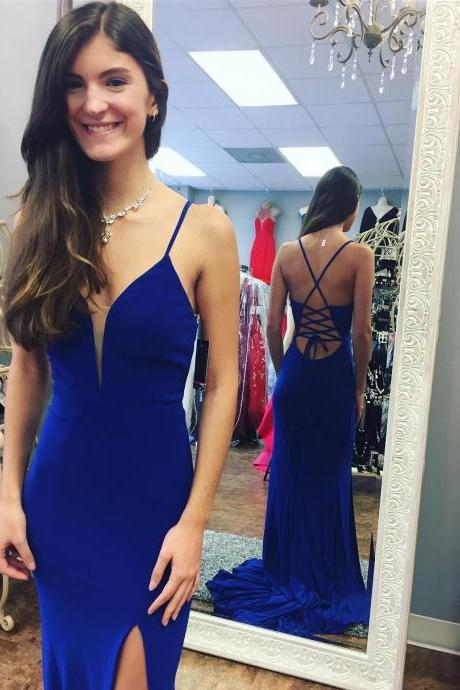 Gorgeous Fitted Plunging V Neck Formal Gown Royal Blue Prom Dress With Cut Out Back
