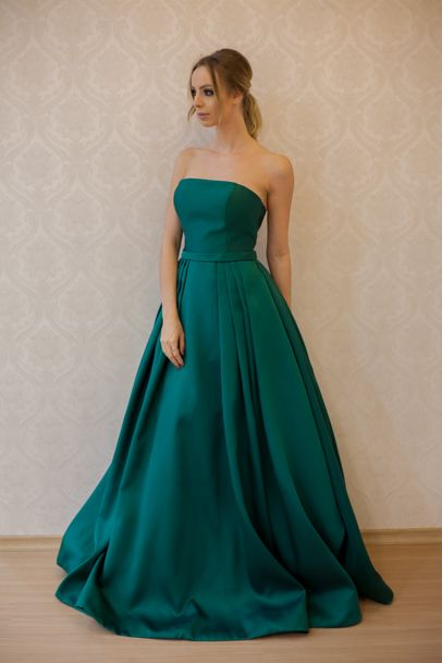 Elegant Teal Strapless A Line Prom Dress Floor Length, Pageant Gown,Wedding Party Dress