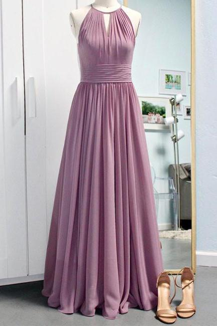 Pink Rose Halter Bridesmaid Dress Chiffon Floor Length Party Dress With Shirred Skirt