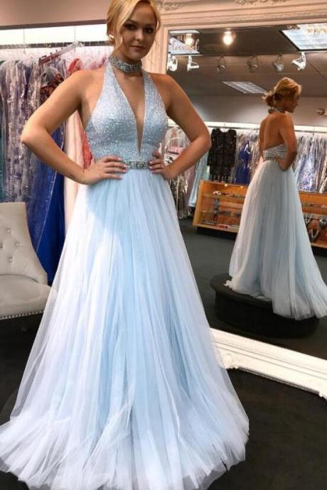 V Neck Sleeveless Prom Dress Light Blue A Line Formal Evening Gown Open Back