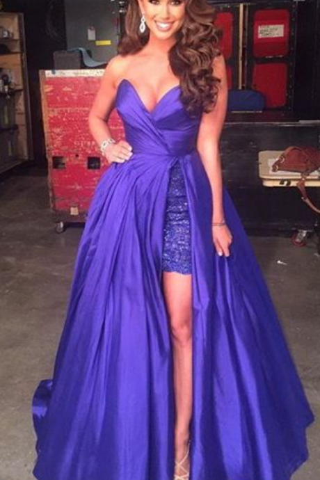 Purple Sweetheart Prom Dress,Formal Evening Gown,Homecoming Dress With Slit Slit