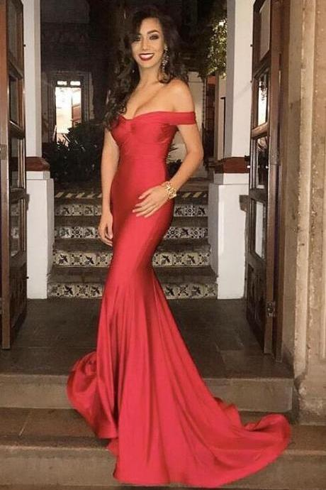 2015 New Red Off The Shoulder Formal Evening Gown Mermaid Prom Dress With Sweep Train