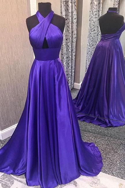 Purple Halter Prom Dress A Line Formal Evening Gown, Wedding Party Dress With Cut Out Bodice
