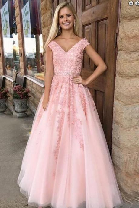 Pink Cap Sleeve Prom Dress Tulle A Line Formal Gown,Wedding Party Dress With Lace Appliques