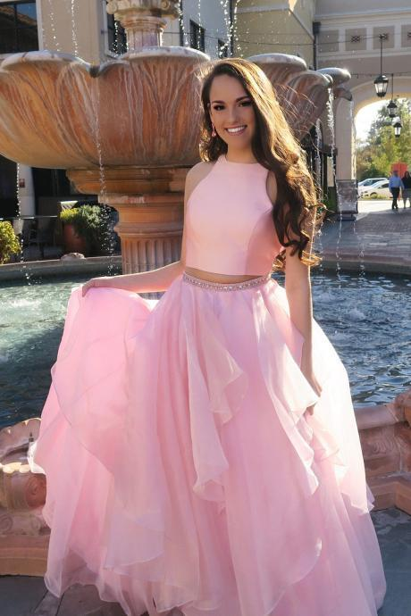 Pink Sleeveless Prom Dress Two Piece Formal Gown, Evening Dress With Layered Tulle Skirt