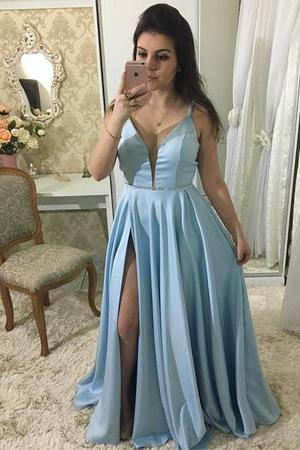 Plunging V Neck Long Party Dress Light Blue Formal Evening Gown With Spaghetti Straps