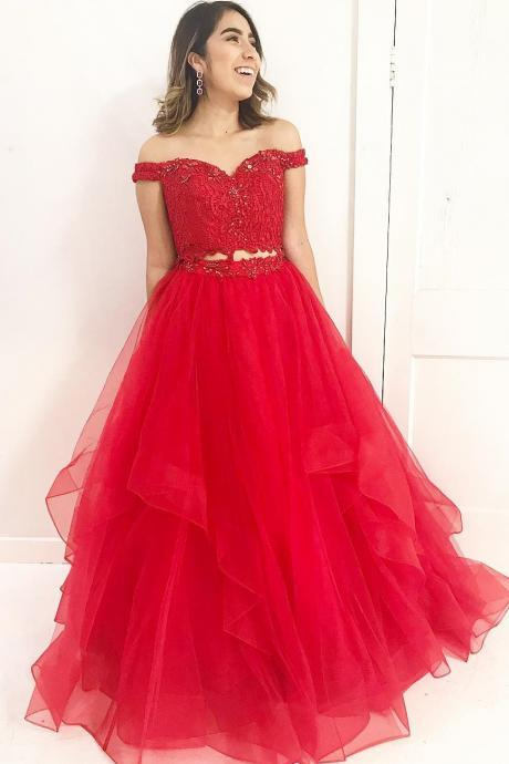 2018 Red A Line Prom Dress Off The Shoulder Two Piece Formal Gown With Layered Skirt