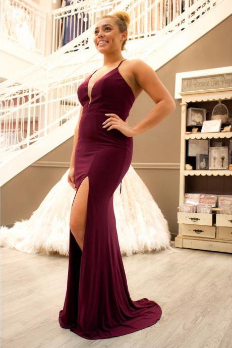 Sexy Plunging V Neck Formal Evening Gown Fitted Long Slit Party Dress With Cut Out Back