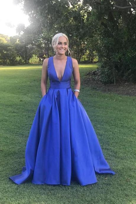 Sexy Deep V Neck Prom Dress A Line Formal Gown Royal Blue Evening Dress