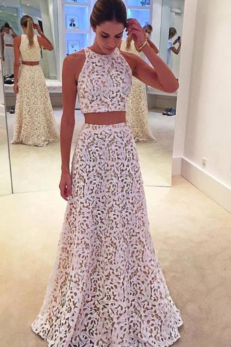 White Lace Formal Gown,Two Piece Prom Dress,Sleeveless Party Dress