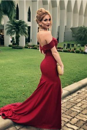 New Arrival Dark Red Mermaid Prom Dress Off The Shoulder Formal Gown Long Side Slit