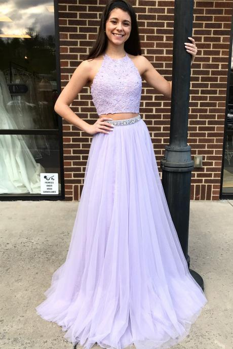 Lavender Prom Dress Two Piece Halter Long Formal Evening Gown With Lace Appliques Crop Top