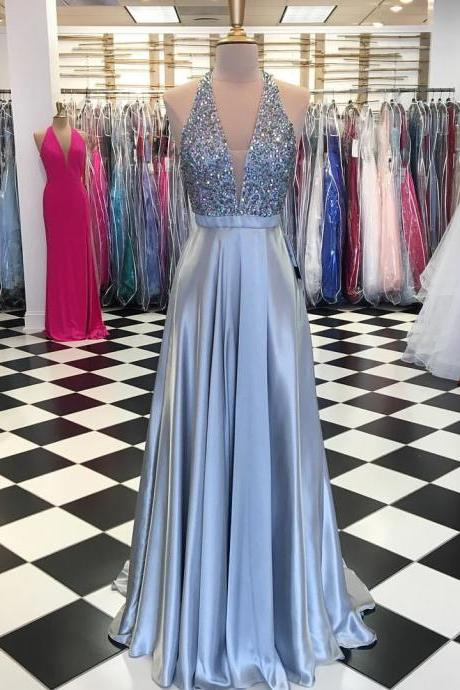 Silver Deep V Neck Prom Dress Sleeveless A Line Formal Evening Gown With Beaded Bodice