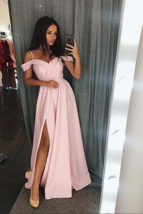 2018 Off The Shoulder Long Party Dress Pink Formal Prom Gown With Side Slit