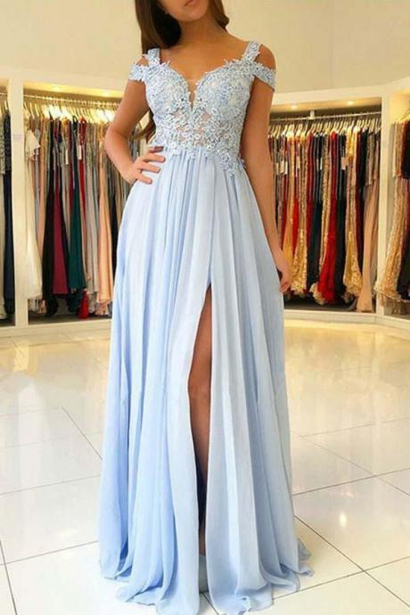 Off The Shoulder Prom Dresss Light Blue Chiffon Maxi Long Party Dresses For Wedding Party