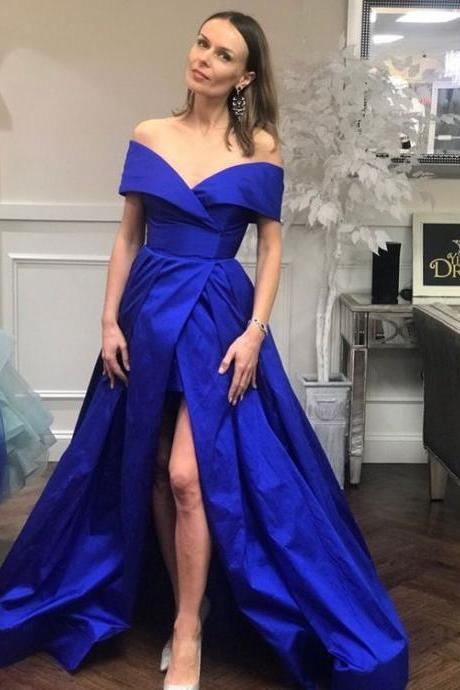 Royal Blue Princess Off The Shoulder Prom Formal Gown Wedding Party Dress With High Slit