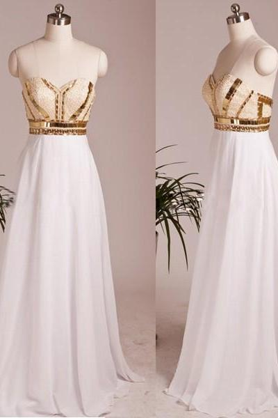 White Chiffon Sweetheart Formal Prom Gown With Beaded And Gold Sequins Bodice