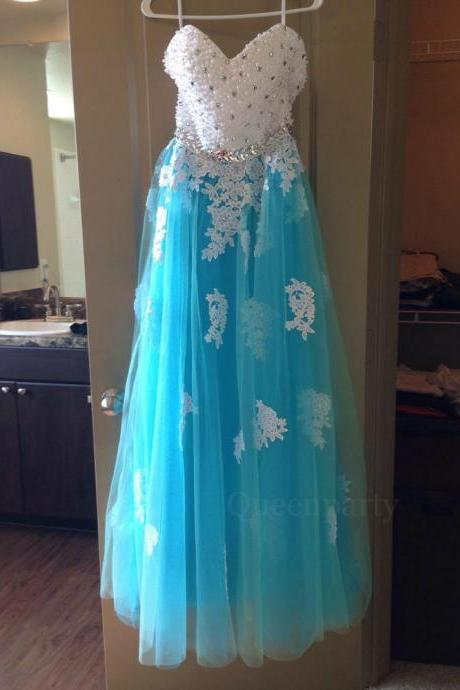 Turquoise Beaded Sweetheart Ball Gown Prom Dress With Lace Appliques