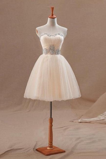 Champagne Tulle Strapless Short Party Dress