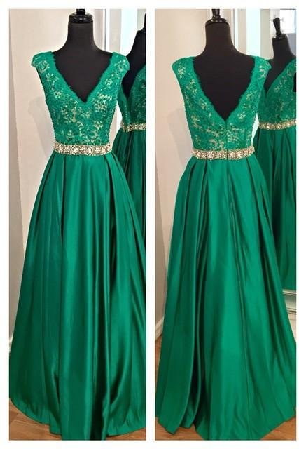 Green/Red/Black V Neck Beaded Evening Gown With Lace Bodice