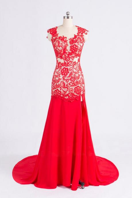 2015 Red Lace Mermaid Evening Gown With Open Back