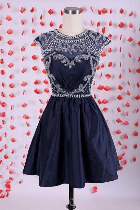 Navy Blue Taffeta Cap Sleeves Cocktail Dress With Beaded Bodice