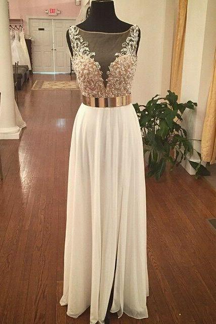 White Chiffon illusion Neck Prom Dress With Beaded Bodice And Open Back