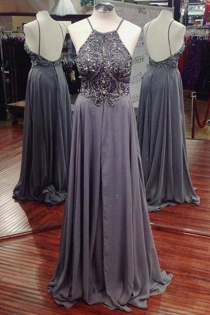 Fashion Chiffon Halter Beaded Bodice Prom Gown With Open Back