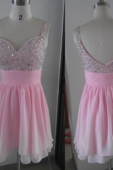 2016 Pink Beaded Sweetheart Chiffon Short Party Dress