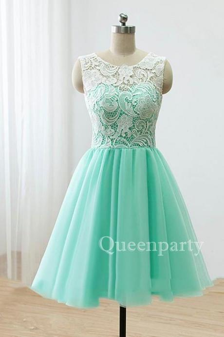 Mint Tulle Lace Cocktail Dress With Covered Button