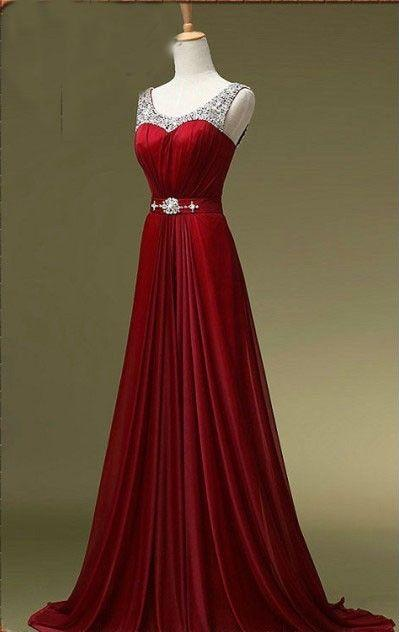 Wine Red Beaded Floor Length Chiffon Prom Dress