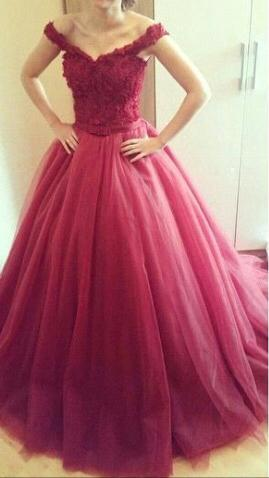 Burgundy Tulle Off The Shoulder Ball Gown Prom Dress With Lace Bodice
