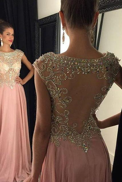 Rose Pink Cap Sleeves Prom Dress With Beaded Sheer Bodice And Back