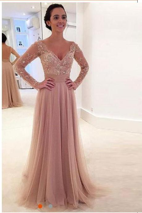 2016 Nude Tulle Long Sleeves V Neck Prom Dress With Sheer Back
