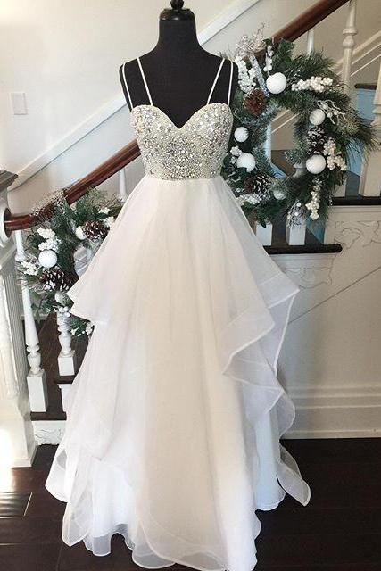 Tulle Beaded Sweetheart Layered Skirt Wedding Dress With Spaghetti Straps