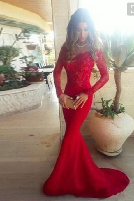 Red Off The Shoulder Long Sleeves Mermaid Formal Gown With Lace Top