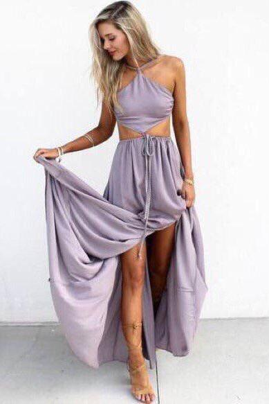 Halter Maxi Chiffon Long Party Dress With Cut Out Waist And Open Back