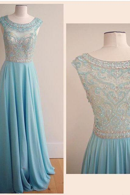 2016 Light Blue Bateau Chiffon Prom Dress With Beaded Sheer Bodice And Back