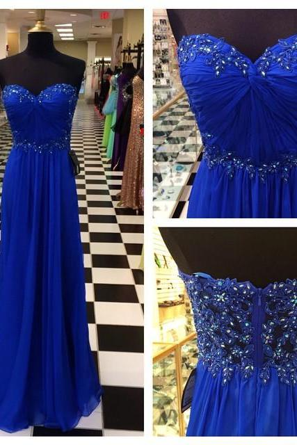 Royal Blue Beaded Embellished Chiffon Ruched Sweetheart Floor Length A-Line Prom Dress
