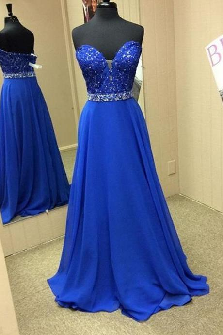 Royal Blue Plunging Sweetheart Chiffon Prom Dress With Beaded Lace Appliques Bodice