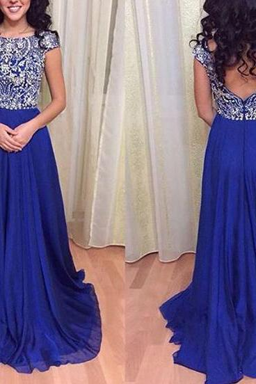 2016 Royal Blue Cap Sleeves V Back Chiffon Prom Dress With Full Beaded Bodice