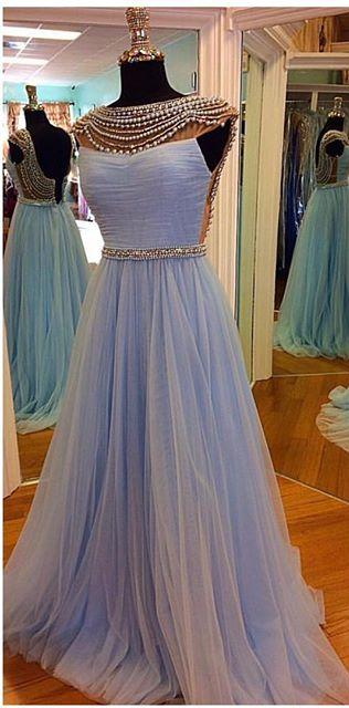 Perwinkle Illusion Cap Sleeves Tulle Beaded Prom Gown With Open Back