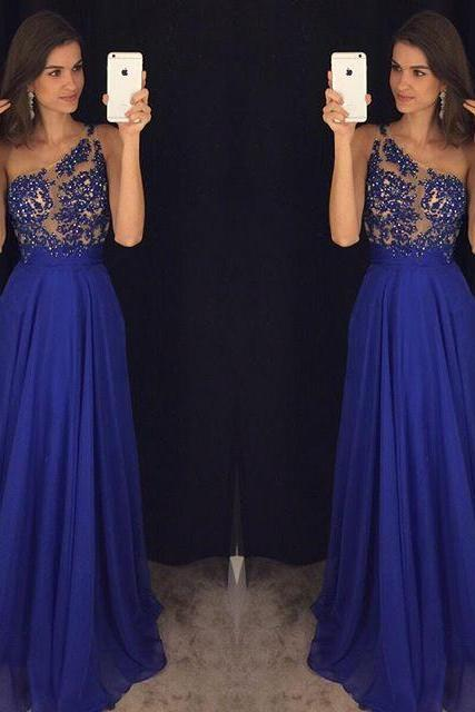 Royal Blue One Shoulder Chiffon Prom Gown With Beaded Appliques Sheer Bodice